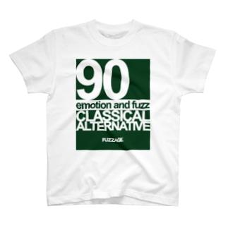 FUZZAGE™ (ファズエイジ)のFUZZAGE No.8 Classical Alternative Rock (Green/White) T-shirts