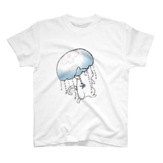のびネコとおさかなのお店の雨の日も楽しいネコ T-shirts