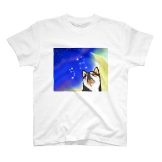 (黒柴)うちのわんこchanシリーズ 月と星 ブランケット用 T-shirts