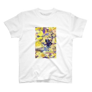 「花畑」黒うさぎ T-shirts