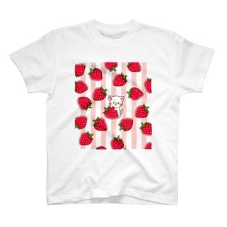 Haruna shopのしろねこ♡苺 T-shirts