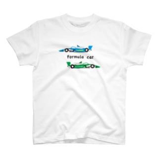 フォーミュラーカーのイラスト(文字黒) T-shirts