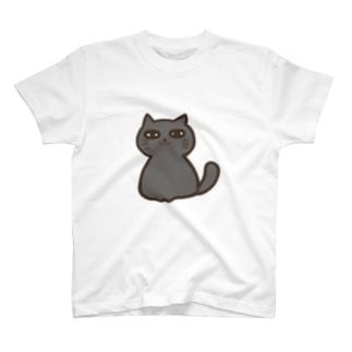 文学眉毛のくろねこさん T-shirts