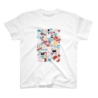 にぎやかカラフルはんこ T-shirts