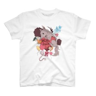 おおかみさんとハートさん T-shirts