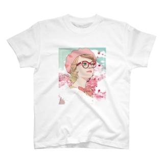 CCさくらカラーの可愛い女の子T T-shirts