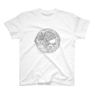 うどんの具(黒) T-shirts