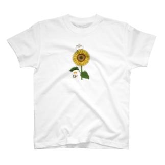 ひまわり畑のはりねずみとハムスター T-shirts