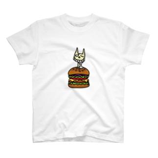 ハンバーガーに苦悩するネコサン T-shirts