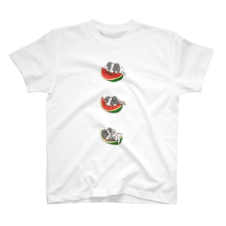 ボーダーコリーのライラ スイカ T-shirts