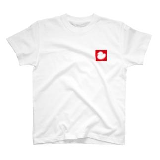お風呂のあひるボックスロゴ(レッド) T-shirts