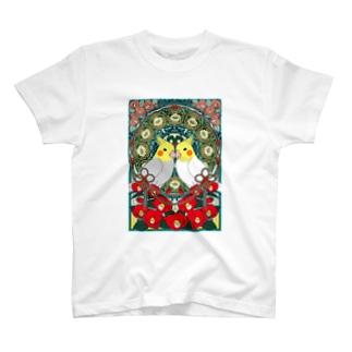 オカメインコ椿【まめるりはことり】 Tシャツ