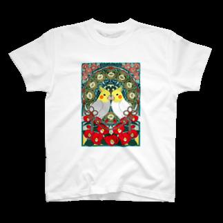 まめるりはことりのオカメインコ椿【まめるりはことり】 T-shirts