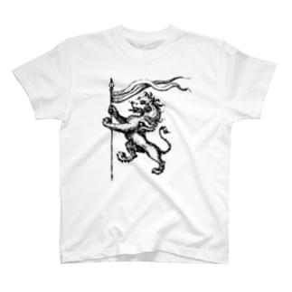 しし座(Leo)_BlackPrint T-shirts