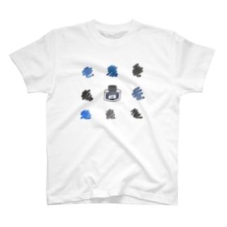 インク瓶と色見本 T-shirts