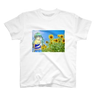 向日葵畑で T-shirts