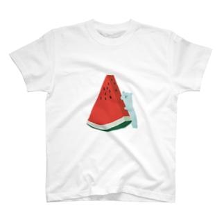 しろくまさんのすいか T-shirts