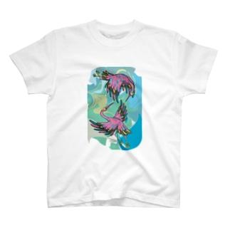 二羽の鶴のTシャツ  T-shirts