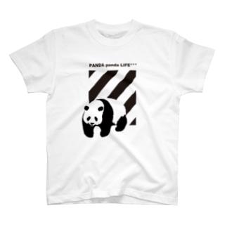 飛び出すパンダ ストライプ T-shirts