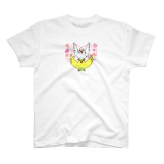 ラブリーセキセイインコ【まめるりはことり】 T-shirts