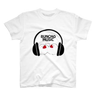 ヘッドフォン&文鳥 黒文字ver. T-shirts
