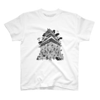 熊本地震復興支援 熊本城武者返し イラストカラー:ブラック T-shirts