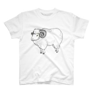 ヒツジとアミモノ(両面) T-shirts