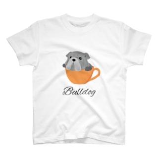 コーヒーカップ犬 ブルドッグ T-Shirt