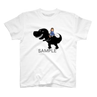 photoグッズ(ティラノサウルス)ブラック T-shirts
