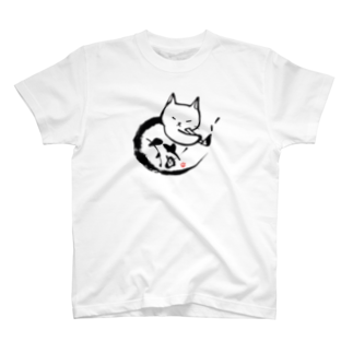 たろくろの猫が書道をする猫書 02 T-shirts