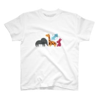 ゾウとイカとウサギとキリン T-Shirt