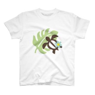 ホヌとモンステラ T-shirts
