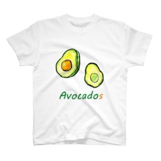 水彩おしゃれなアボカド T-shirts