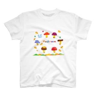 秋のかわいいキノコ T-shirts