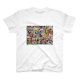 天才アートKYOTO_大場多知子_1「きのこ祭り」 T-shirts