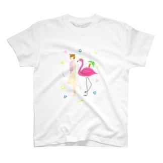 He joy. Summer flamingo -W- T-shirts