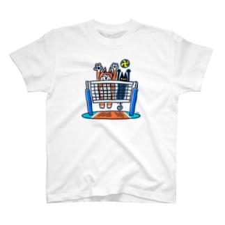 柴犬と黒猫のバレー T-shirts