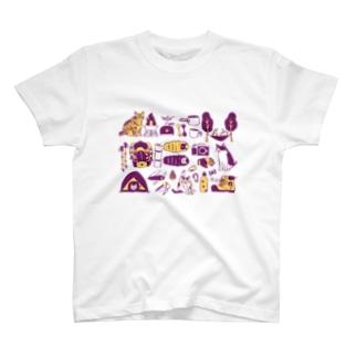camp cats 紫 T-shirts