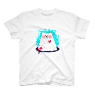 熊本支援グッズ【しろくまの負けないハート】 T-shirts