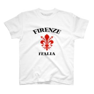 FIRENZE フィレンツェ イタリア フィレンツェの紋章 百合の紋章 Il giglio di Firenze FIRENZE フィレンツェ イタリア フローレンス イタリア カスレ加工 T-shirts