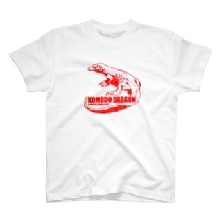 コモドドラゴン レッド 古着屋パンダ T-Shirt