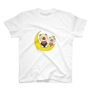 あすか工房**くまヲfly me to the moon T-shirts