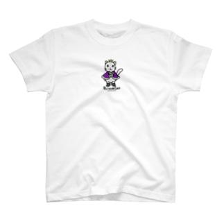 ゆきだるまころころのねこの王子様*紫 T-shirts