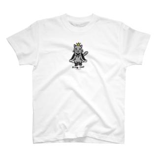 ゆきだるまころころのねこの王様*黒 T-shirts