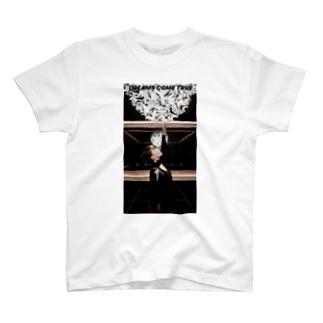 夢を叶える black T-shirts