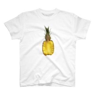 果物の断面図シリーズの写真(パイナップル) T-shirts