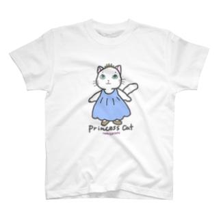 ゆきだるまころころのねこのお姫さま(ブルー) T-shirts