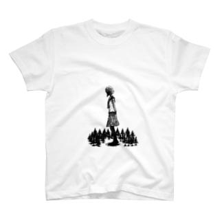 """""""真っ黒少女"""" 『森ガール』 T-shirts"""