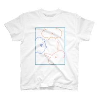 [単色.集合]ほっぺふくらみ動物たち T-shirts
