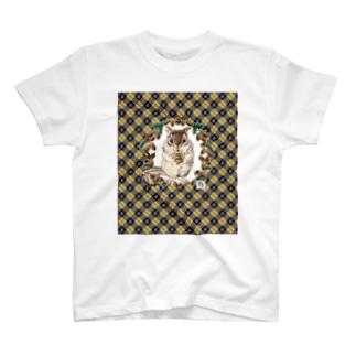 リスとドングリ ブルー系チェック T-shirts